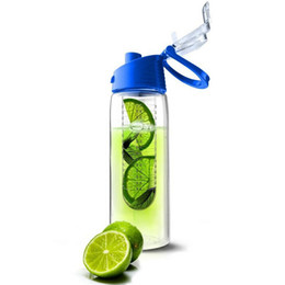 Wholesale Travel Plastic Cups Camping - Wholesale-Fashion 701ML-800ML Flesh Fruit infuser infusing Water Bottle Sports Health Lemon Juice Make Bottle Cycling Camping Cup