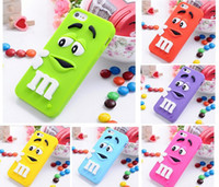 Wholesale Silicon Bean Case - Wholesale-2015 Hot item 3D Cartoon M&M Chocolate Case Bean Phone Defender Soft Silicon Back Cover for iPhone 5 5s