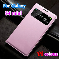 Wholesale Smart Cover Case S4 - Wholesale-Slim Smart View Shell Auto Sleep Wake Bag Original Leather Case Flip Cover Holster For Samsung Galaxy S4 Mini I9190 I9192 I9195