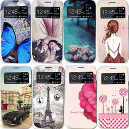 Wholesale Galaxys4 Cases - Wholesale-22 Styles Painting Case For Samsung Galaxy S4 SIV i9500 For Sansung GalaxyS4 S IV Cases Cell Phone Shell Leather Flip