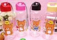 Wholesale Kawaii Water Bottle - Wholesale-Kawaii Transparent Rilakkuma Bear PP Plastic Water Drinking Bottle Cup Sports Water Bottle ; Healthy Convenient Kid's Bottle