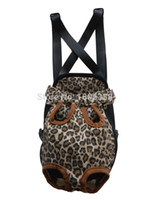 Wholesale Cpam Carrier - Wholesale-Leopard Pet Dog Cat Carrier Bag Four Legs Out Free Shippping By CPAM Bag for Dog