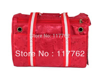 Gros-Free Shiping rouge polyester jacquard avec des sangles de coton Chiens Pet Carrier Bag Dogs Fashion Bag