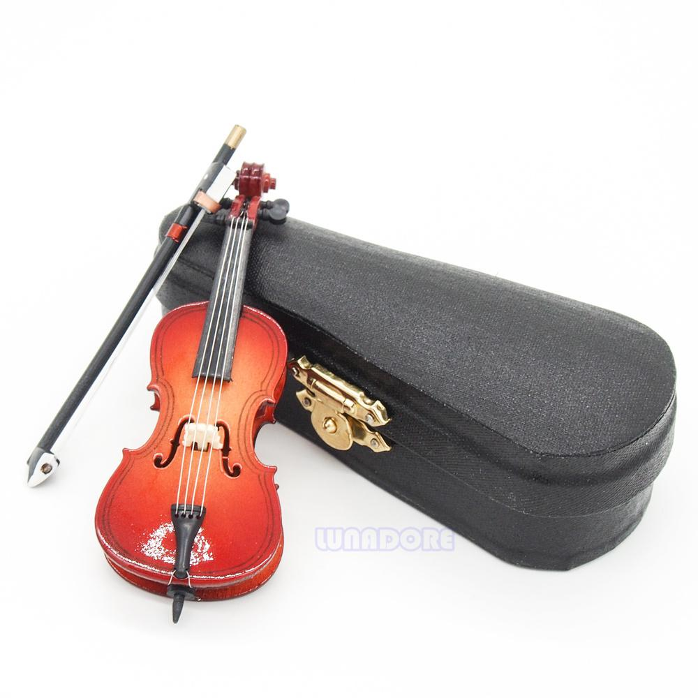 Wholesale Baby Instrumento Musical Toys 1 12 Wood Cello Violin Bow Miniature Musical Instrument With Case Amp Holder Gift Musical Miniature Dollhouse