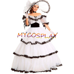 Wholesale New Southern Belle Costumes - Wholesale-2015 New Silk Short Sleeves Southern Belle Costume Victorian Women Dress Adult Halloween Costumes For Women Civil War Gowns Ball