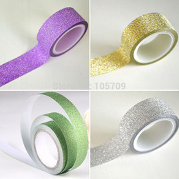 Wholesale Glitter Adhesive Tape - Wholesale-Free shipping!1 Roll 5m Craft Glitter for Washi Tape Book Decor DIY Adhesive Paper Sticker T1441 P