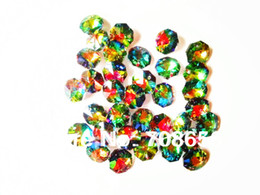 Wholesale Crystal Octagon 14mm - Wholesale-HOT SALE 1000pcs 14MM MULTICOLOURED OCTAGON CRYSTAL GLASS BEADS CHANDELIER CHAIN PARTS IN TWO HOLES