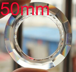 Wholesale Crystal Ring Chandelier Light - Wholesale-15pcs lot 50mm ROUND O RINGS PRISM crystal chandelier part SUNCATCHER glass chandelier lighting pendant free shipping