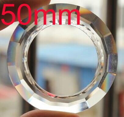 Atacado-15pcs / lot 50mm REDONDO O ANÉIS PRISMA parte lustre de cristal SUNCATCHER lustre de iluminação de vidro pingente frete grátis
