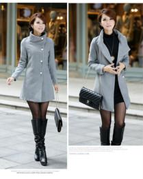 Wholesale Flannel Wool Jacket - Wholesale-Women Brand New Outerwear Coats Winter Cashmere Parkas Single-Breasted Wool Black Grey Apricot Plus Size long Jacket nz108