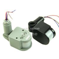 sensores de movimento 12v venda por atacado-Atacado-E74 frete grátis 12M 12V segurança PIR infravermelho Sensor de movimento Detector de parede LED luz ao ar livre RF 140degree