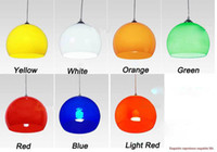 Wholesale Electrical E27 - Wholesale-100-240V 20cm Acrylic Pendant Light Red Green Yellow White Orange Blue Lampshade E27 Lamp abat jour electrical wiring light
