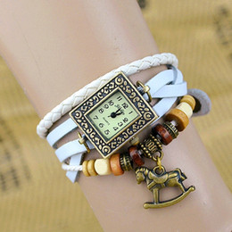 Wholesale Trojan Watches - Wholesale-DHL   EMS free shipping! Wholesale Cow Leather Watches!YL007 vintage Trojan pendant weave watch for women