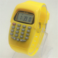 Wholesale calculator watch online - New Hot Casual Fashion Sport Watch For Men Women Kid Colorful Electronic Multifunction Calculator Watch Jelly Watch CC2266