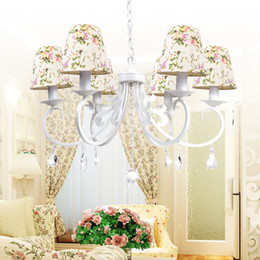 Wholesale Country Chandelier Shades - Wholesale-Country Style Iron Art Chandeliers Colorful Fabric Shade Optional Lustres Home Decoration Chandeliers Free Shipping