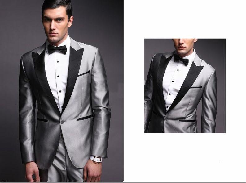 Wholesale-Best New Style Groom Tuxedos Silver Peak Black Lapel ...