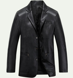 Wholesale Mens Suits Free Shiping - Fall-Free shiping! M ~ 4XL Brand Fashion leather jacket men business leisure Suit collar mens leather jackets and coats