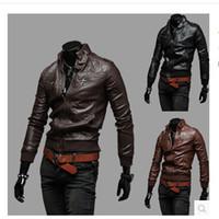 Wholesale Epaulette Jackets Collar - Fall-2015 epaulette pocket rib knit bottom male stand collar motorcycle leather clothing leather jacket