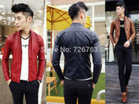 Wholesale Stylish Leather Mens Coat Jacket - Fall-New Mens Stylish Zip Up Skinny Fit Mod Biker Casual Faux Leather Jacket Coat M L XL XXL