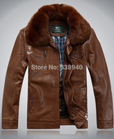 Wholesale Rabbit Skin Fur - Fall-New! Men's sheep skin leather coat lapel detachable big rabbit fur collar men leather motorcycle winter warm brown jacket XL 3XL