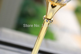 Wholesale Crystal Stems - Wholesale-2015 new design hot sale clear crystal 597ml drinking wine glasses with gold stem color gold for party club cup OH13171-C