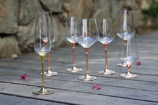 Wholesale-2015 hot sale clear crystal 350ml drinking wine glass set with rose gold metal stem