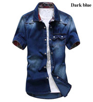 Wholesale Korean Button Down - Wholesale-2015 Gradient Men Shirts Short Sleeve Chambray Shirt Denim Men Shirt Collar Button Up Korean Style Men XXL Blue