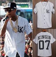 ingrosso abbigliamento da baseball per uomo-All'ingrosso-Tyga Last King Abbigliamento Hip Hop Baseball Jersey Uomo camicia a righe verticali da baseball manica corta LK Camicie senza colletto Streetwear