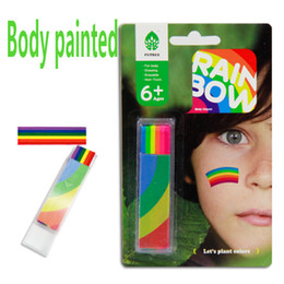 Wholesale Painting Safe - Wholesale-Fluorescent colors nontoxic safe Body paint tools pen for Children face paint stick Halloween maquillaje maquiagem styling tools