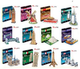 Wholesale Empire State Building 3d - Wholesale- Handmade DIY Cubicfun 3D Puzzle Paper Papercraft Double Decker Bus Eiffel tower Titanic Tower Bridge Empire State Building