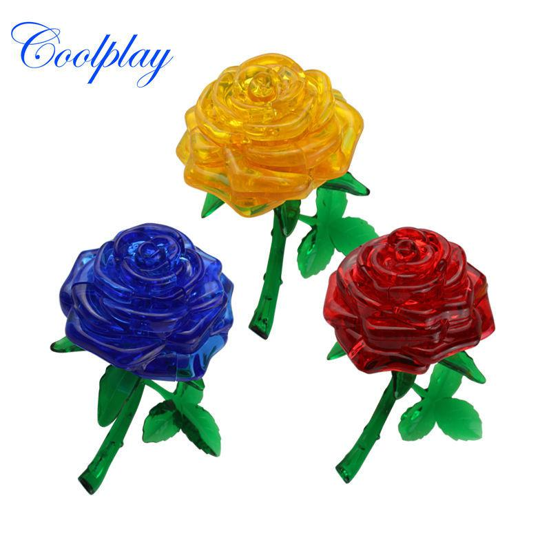 Wholesale- Newly design DIY Funny Pisces Rose 3D Crystal Puzzles 44pcs best toys for children birthday gift for sweetheart kid girl CP9001