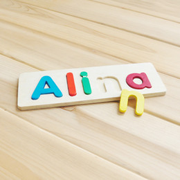 Wholesale Baby Wooden Puzzles - Wholesale-Personalized Wood Name Puzzle, Costom name toy, Wooden baby toy, Perfect Birthday Gift, Raised Wood Letters, Custom Kids name