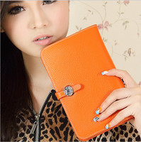Wholesale Clutch Purse Bags Cowhide Leather - Wholesale-Luxury wallet woman handbag bag passport ID credit card holder cowhide clutch genuine leather wallet beautiful female lady purse
