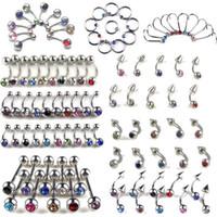 Wholesale Lip Bar Jewellery - Wholesale-5Pcs You Choose Bulk Trendy Body Jewellery belly Tongue Bar Lip Eyebrow Nose Rhinestone Piercing Rings