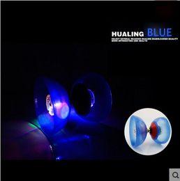 Wholesale Glow Lighting - Wholesale-professional magic Diabolo Set Hight Speed Light Up GLOW Blue YO YO Butterfly 3 Triple Bearing Juggling Sticks+Bag