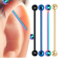 Wholesale Gold Plated Piercing 14g - Mix Colors 50PC 1.6*50*6 6mm Titanium Anodized Surgical Steel Industrial Barbell Piercing Bars For Women Men Body Jewelry 14G BPJ145