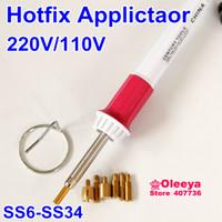 Wholesale Hot Fix Wand - Wholesale-White&pink Iron-on Hotfix Hot Fix Applicator Wand For Crystal Gem Rhinestone 1pcs lot Hotfix Tool Free Shipping Y2643