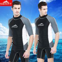 Wholesale Wetsuit Top L - Wholesale-SBART Rashguard Swim Shirts Men Short Sleeve Surf Lycra Top Sunscreen Mens Rash Guard Surf Shirt Upf50 UV Diving Suit Wetsuit J
