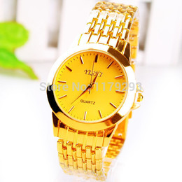 Wholesale Solid Gold Wrist Watches - Wholesale-Top Brand YISHI Fake Men 18K Solid Gold Watch Luxury Business Quartz Wrist Watch for Boss JK-200