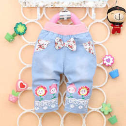 Wholesale Sunflower Denim - Wholesale-Free shipping 2015 summer Cute sunflower smiley baby girls bow jeans pants, girls Shorts