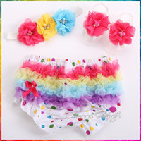 Wholesale Colorful Baby Bloomers - Wholesale-Baby Colorful Dots shorts infantil girls Flower Headband Barefoot Sandal Set,baby ruffled bloomers,Cotton lace bloomers #3T0190