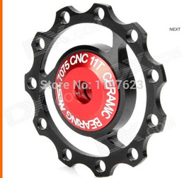 Wholesale Aest Pulley - Wholesale-AEST Aluminum Bike 7075 11T Rear Derailleur Pulley - Black + Red