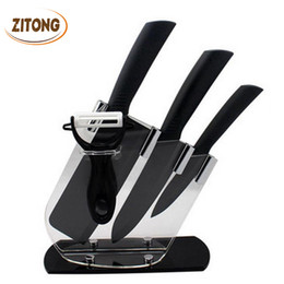 Wholesale Top Chef Knives Set - Wholesale-Top Quality Brand Black Blade Kicthen Ceramic Knife Set With Acrylic Holder Stand Chef Kitchen knives