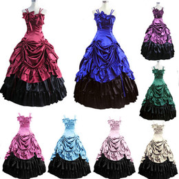 Robes Victoriennes De Cosplay Pas Cher-Vente en gros-Livraison gratuite Halloween WomenCostumes Party Robe victorienne Medieval Ball Gowns Cosplay Customized