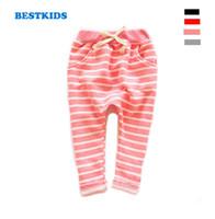 Wholesale Harem Pants Kids Red - Wholesale-Kids pants 2015 Autumn Boys harem Pants full length terry girls pants Fashion cotton striped trousers for girls