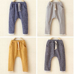 Wholesale Haren Kids - Wholesale-Children's pants cotton leisure harem pants boys and girls kids trousers boys clothes fashion Haren turnup trousers