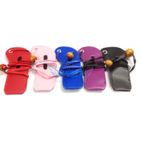 Wholesale Ego Leather Necklace - Wholesale-Leather Ego Neck Lanyard Bag Necklace Carrying Case Colorful Pouch E Cigarette Accessories for eGo-T eGo-W eGo-F Electronic Cig