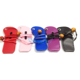 Wholesale Ego T Necklaces - Wholesale-Leather Ego Neck Lanyard Bag Necklace Carrying Case Colorful Pouch E Cigarette Accessories for eGo-T eGo-W eGo-F Electronic Cig