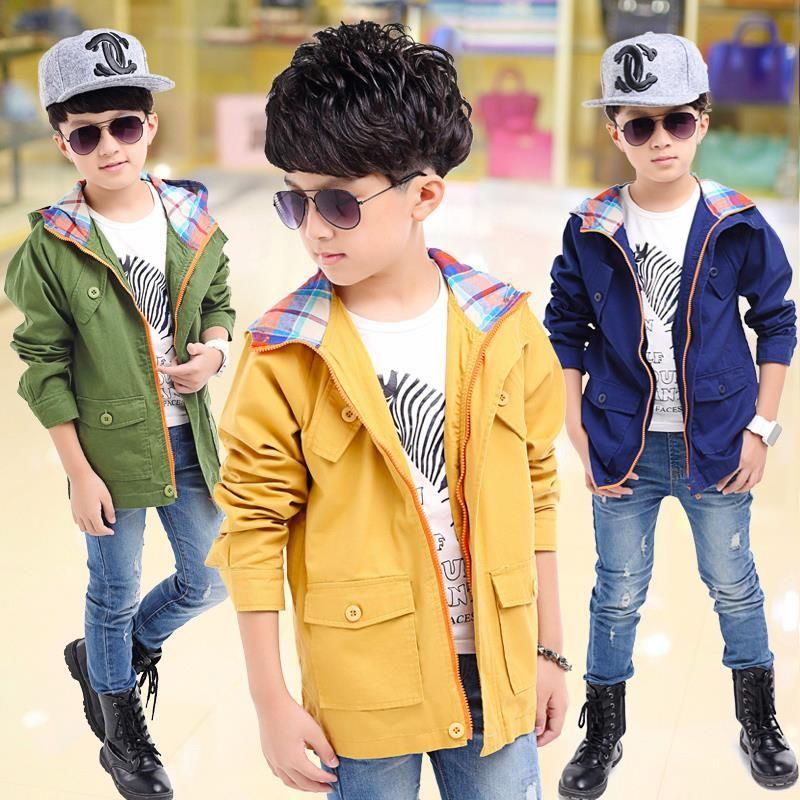 1f07bcc75 Wholesale-NEW Fashion Teen Boys Trench Coat Autumn Boy Coats And ...