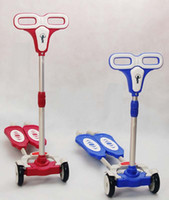 Wholesale Zip Wheels - Wholesale-Free Shipping 4-wheel height adjustable ZIP flick style double-board self propelled kid   child   pupil foot kick scooter